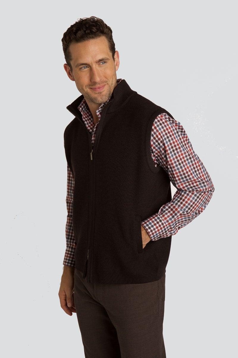 Full Zip Wool Rib Knit Vest