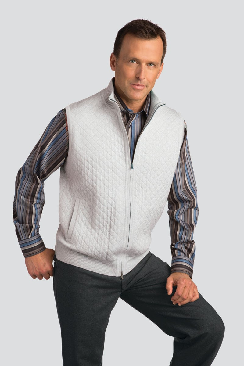 Quilted Full Zip Wool Blend Vest