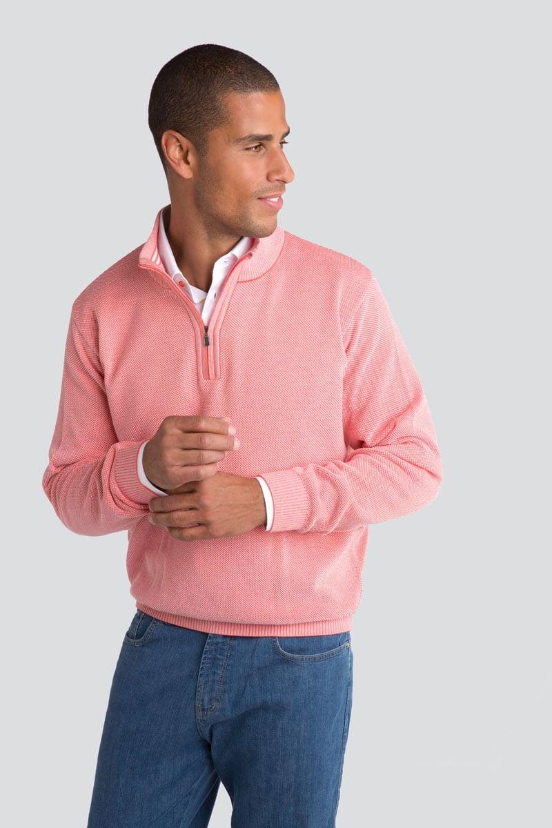 Birds Eye Cotton Fashion Quarter Zip Pullover