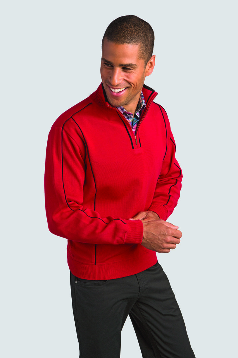 Sporty Cotton-blend Zip Pullover with Contrast Piping