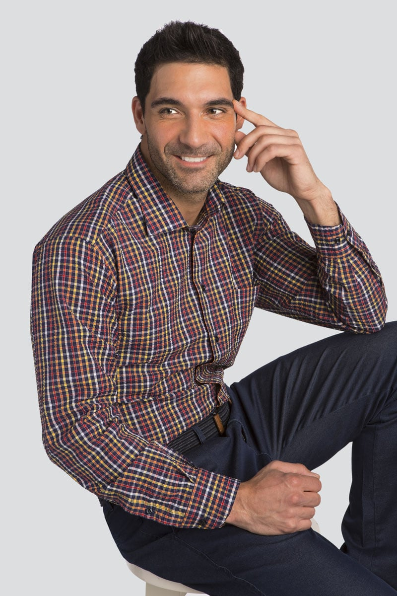 Long Sleeve Classic Fit Check Sport Shirt
