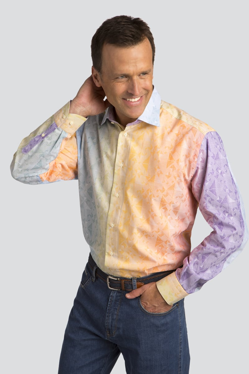 Long Sleeve Multicolor Jacquard Sport Shirt