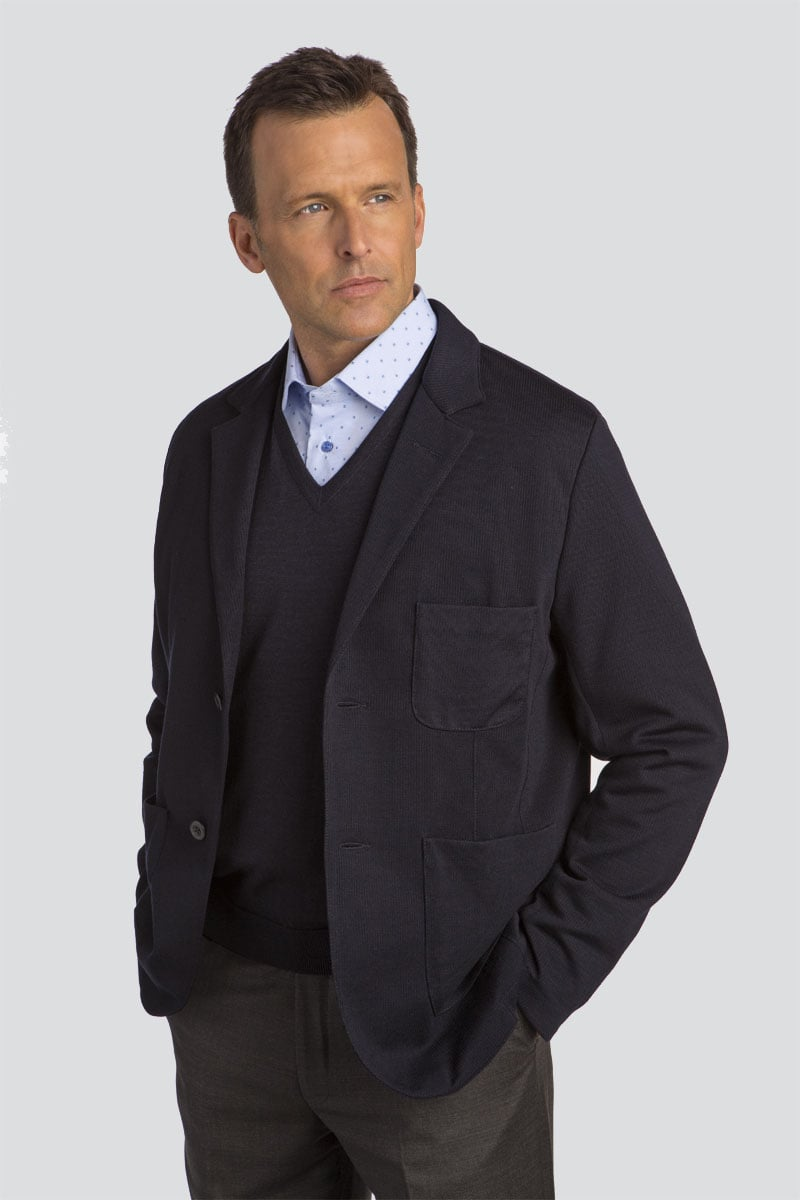 Lightweight Wool Knit Soft Blazer